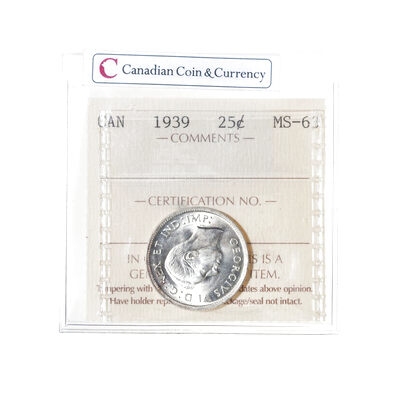 25 cent 1939  ICCS MS-63