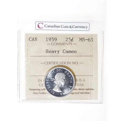 25 cent 1959 Heavy Cameo ICCS MS-65