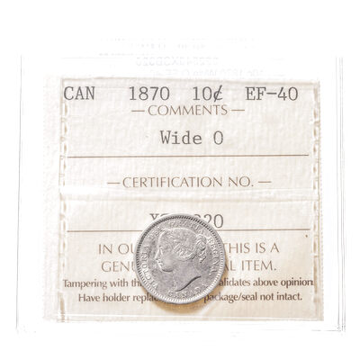 10 cent 1870 Wide O ICCS EF-40