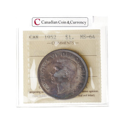1 Dollar 1952 WL ICCS MS-64