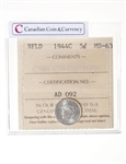 NFLD 5 cent 1944C  ICCS MS-63