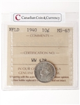 NFLD 10 cent 1940  ICCS MS-63