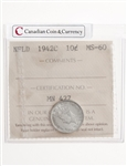 NFLD 10 cent 1942C  ICCS MS-60