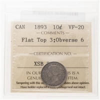 10 cent 1893 Flat Top 3; Obv 6 ICCS VF-20