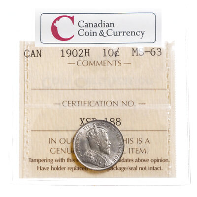 10 cent 1902H  ICCS MS-63