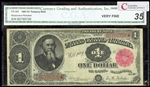 US $1 Treasury Note 1891 Rosecrans-Nebeker Small Red Seal Certified VF-35