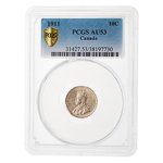 10 cent 1911 Broad Leaves PCGS AU-53