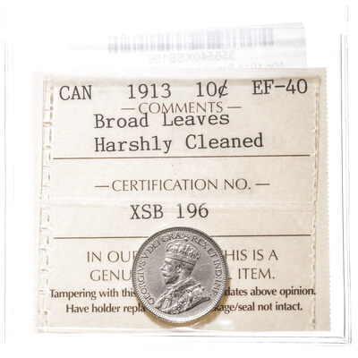 10 cent 1913 Broad Leaves ICCS EF-40