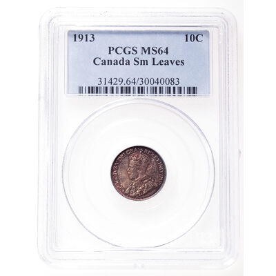 10 cent 1913 Small Leaves PCGS MS-64