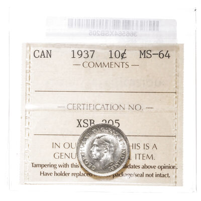 10 cent 1937  ICCS MS-64