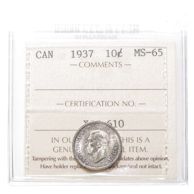 10 cent 1937  ICCS MS-65
