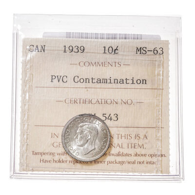 10 cent 1939  ICCS MS-63