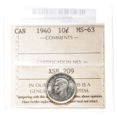 10 cent 1940  ICCS MS-63