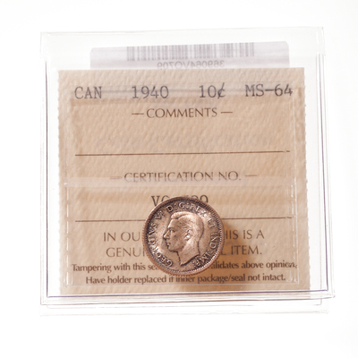 10 cent 1940  ICCS MS-64