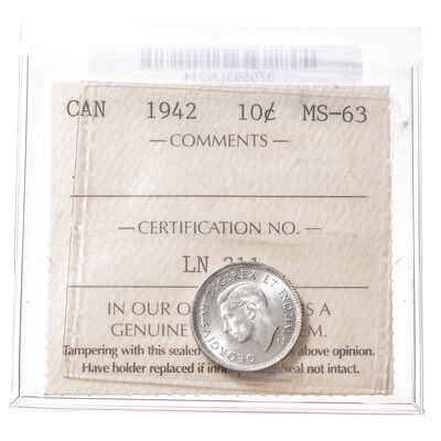 10 cent 1942  ICCS MS-63