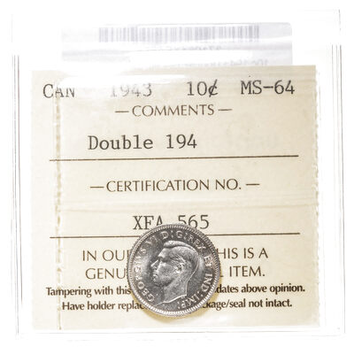 10 cent 1943 Double 194 ICCS MS-64