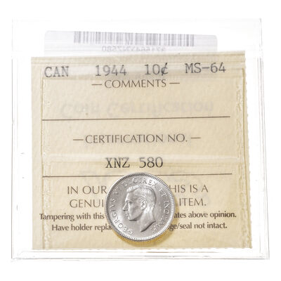10 cent 1944  ICCS MS-64