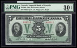 The Imperial Bank of Canada $5 1933  PMG VF-30