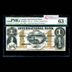 The International Bank of Canada $1 1858 Fitch, Red #s PMG CUNC-63