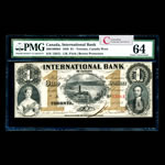The International Bank of Canada $1 1858 Fitch, Red #s PMG CUNC-64