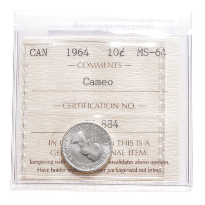 10 cent 1964 Cameo ICCS MS-64