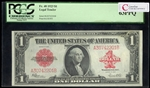 US $1 Legal Tender Note 1923 Speelman-White Small Red Seal, Scalloped PCGS CHUNC