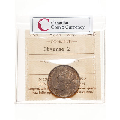 25 cent 1872H Small 2; Obv 2 ICCS EF-40