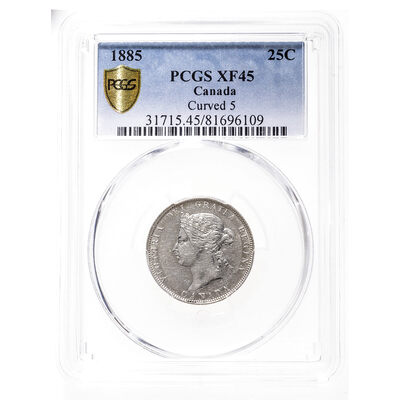 25 cent 1885 Curved Top 5 PCGS EF-45