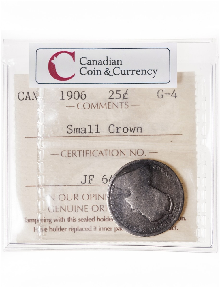 25 cent 1906 Small Crown ICCS G-4