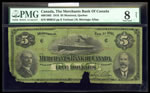 The Merchants Bank of Canada $5 1916  PMG VG-8