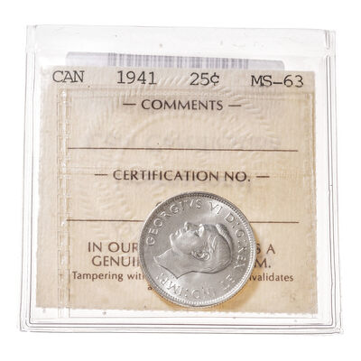 25 cent 1941  ICCS MS-63