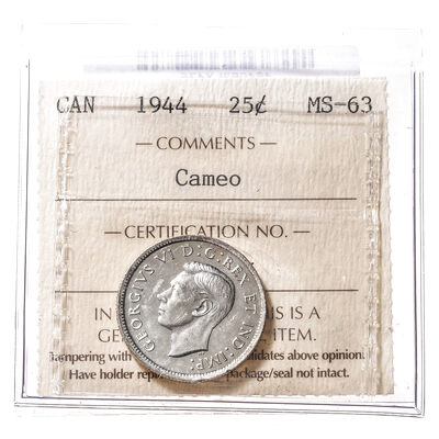 25 cent 1944 Cameo ICCS MS-63