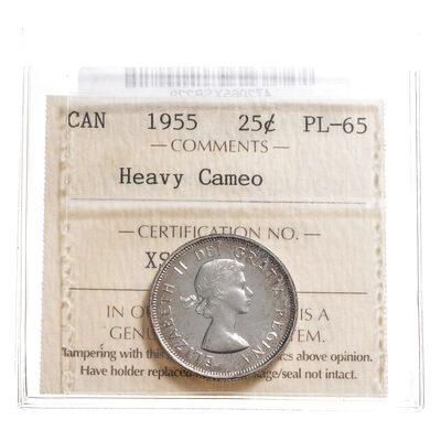 25 cent 1955 Heavy Cameo ICCS PL-65