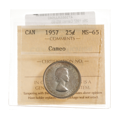25 cent 1957 Cameo ICCS MS-65