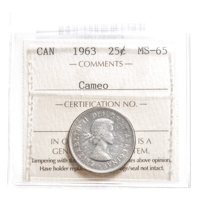 25 cent 1963 Cameo ICCS MS-65