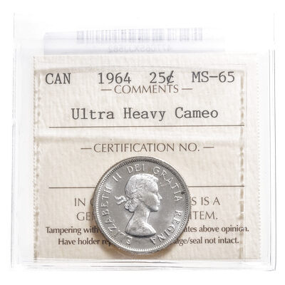 25 cent 1964 Ultra Heavy Cameo ICCS MS-65