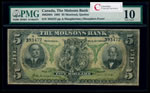 The Molsons Bank $5 1905 Shoulders front PMG VG-10