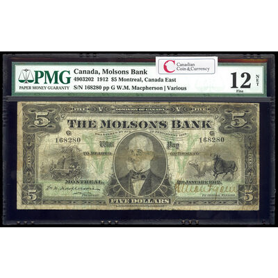 The Molsons Bank $5 1912  PMG F-12
