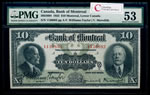 The Bank of Montreal $10 1923  PMG AU-53
