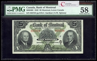 The Bank of Montreal $5 1942  PMG AU-58