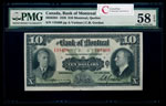 The Bank of Montreal $10 1938  PMG AU-58