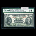 The Bank of Montreal $10 1923  PMG AU-58