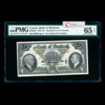 The Bank of Montreal $5 1935  PMG GUNC-65
