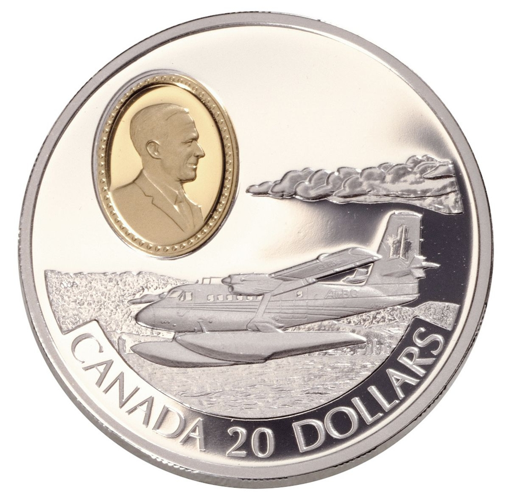 1999 $20 Aviation Series Two (9) de Havilland DHC-6 Twin Otter - Sterling  Silver Coin