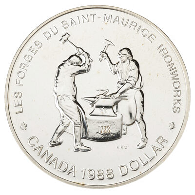 $1 1988 Brilliant Uncirculated Silver Coin - Saint-Maurice Ironworks