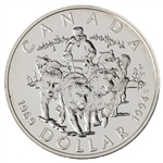 $1 1994 Brilliant Uncirculated Silver Coin - R.C.M.P. Northern Dog Team Patrol
