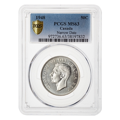 50 cent 1948 Narrow Date PCGS MS-63