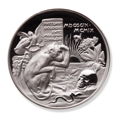 1909 Re-strike Darwin and Monkey Satire Ultra High Relief, Piedfort - 2 oz Pure Silver Medal