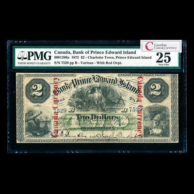 The Bank of Prince Edward Island $2 1872 Red o/p PMG VF-25