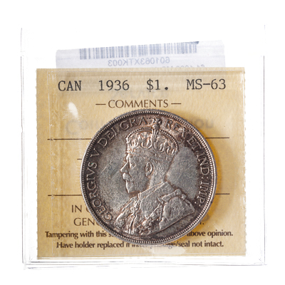 1 Dollar 1936  ICCS MS-63